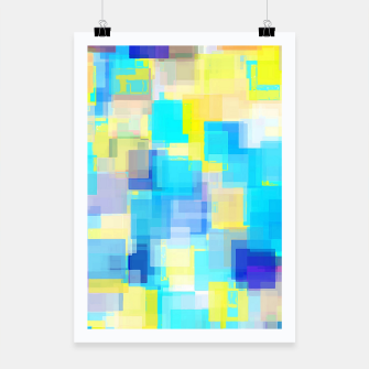 Thumbnail image of geometric square pattern abstract background in yellow and blue Poster, Live Heroes