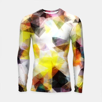 Thumbnail image of geometric triangle pattern abstract background in yellow brown pink Longsleeve rashguard , Live Heroes