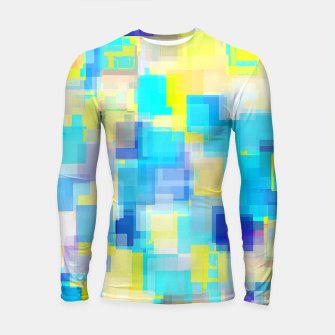 Thumbnail image of geometric square pattern abstract background in yellow and blue Longsleeve rashguard , Live Heroes