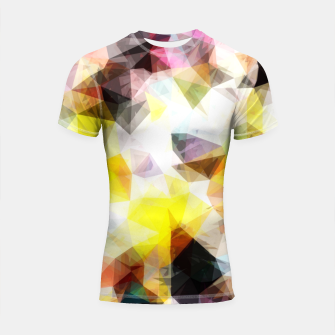 Thumbnail image of geometric triangle pattern abstract background in yellow brown pink Shortsleeve rashguard, Live Heroes