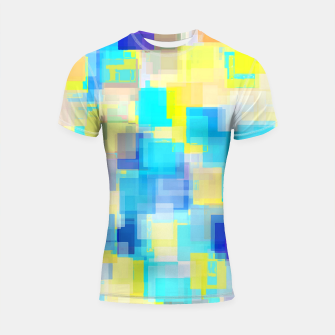 Thumbnail image of geometric square pattern abstract background in yellow and blue Shortsleeve rashguard, Live Heroes