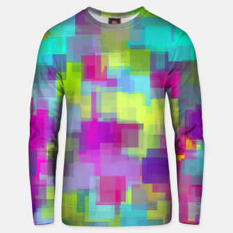 geometric square pattern abstract background in pink yellow blue Unisex sweater thumbnail image
