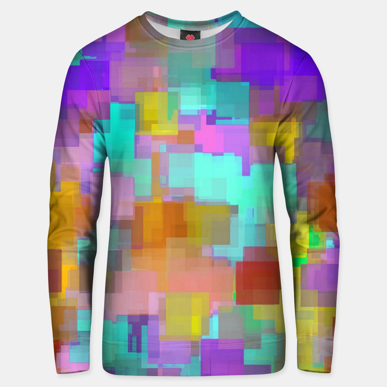 Image of geometric square pattern abstract background in pink blue purple brown Unisex sweater - Live Heroes