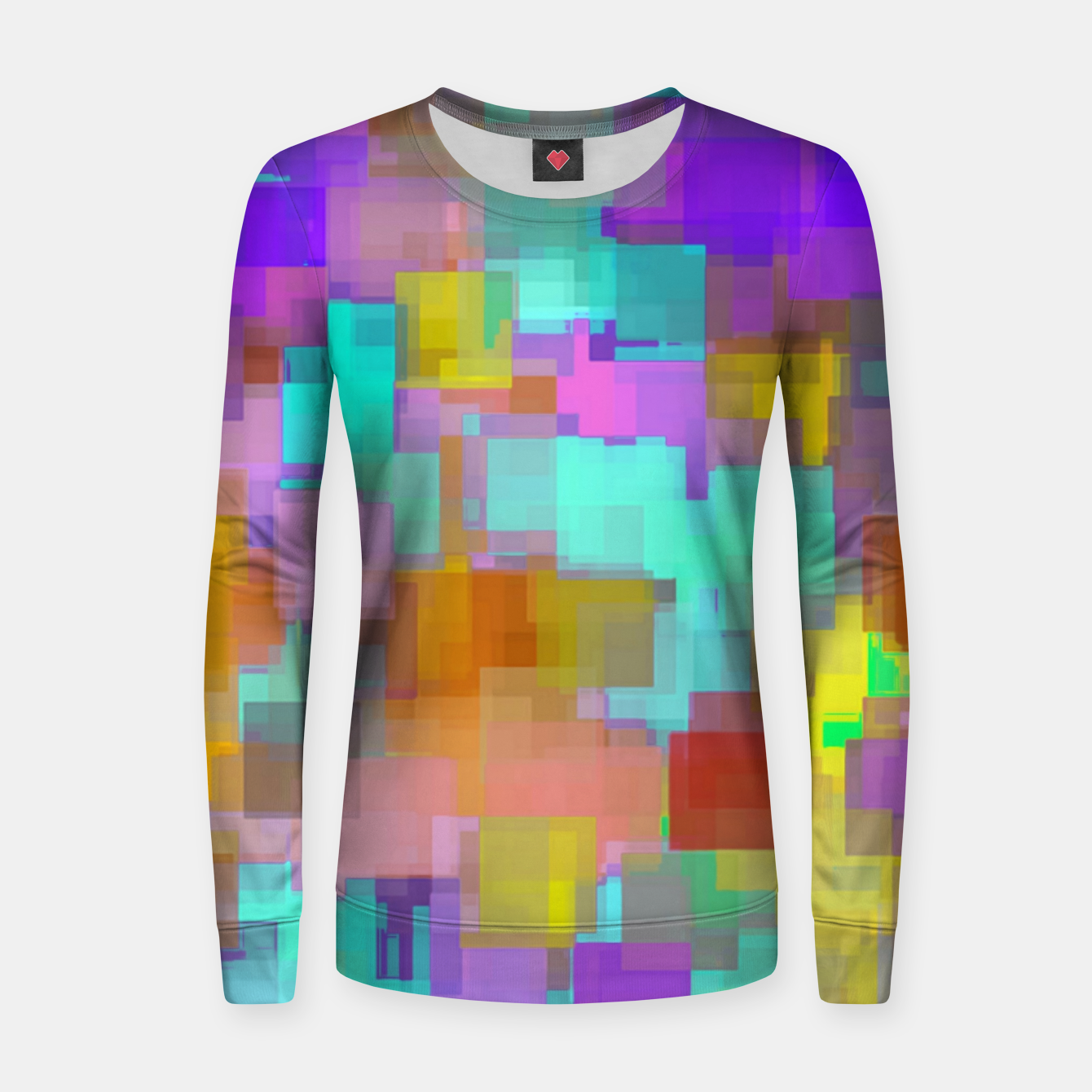Image of geometric square pattern abstract background in pink blue purple brown Women sweater - Live Heroes