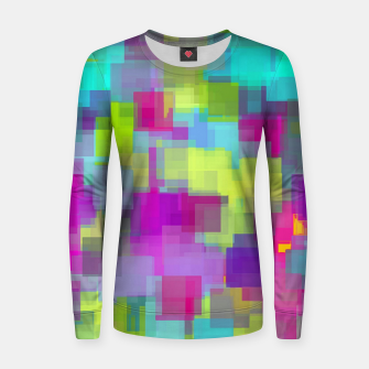 geometric square pattern abstract background in pink yellow blue Women sweater thumbnail image
