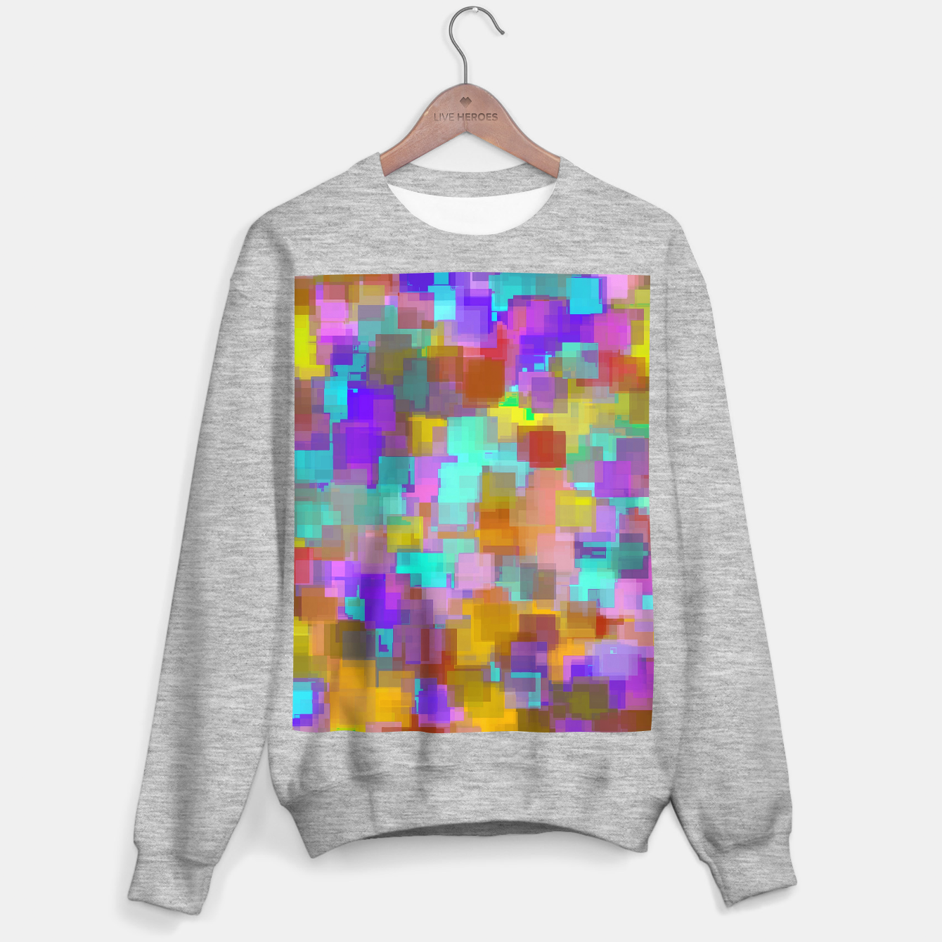 Image of geometric square pattern abstract background in pink blue purple brown Sweater regular - Live Heroes