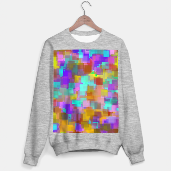 Thumbnail image of geometric square pattern abstract background in pink blue purple brown Sweater regular, Live Heroes