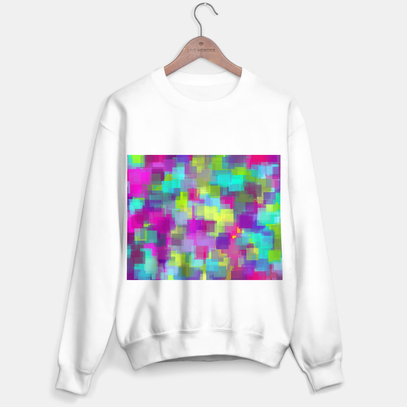 Image of geometric square pattern abstract background in pink yellow blue Sweater regular - Live Heroes