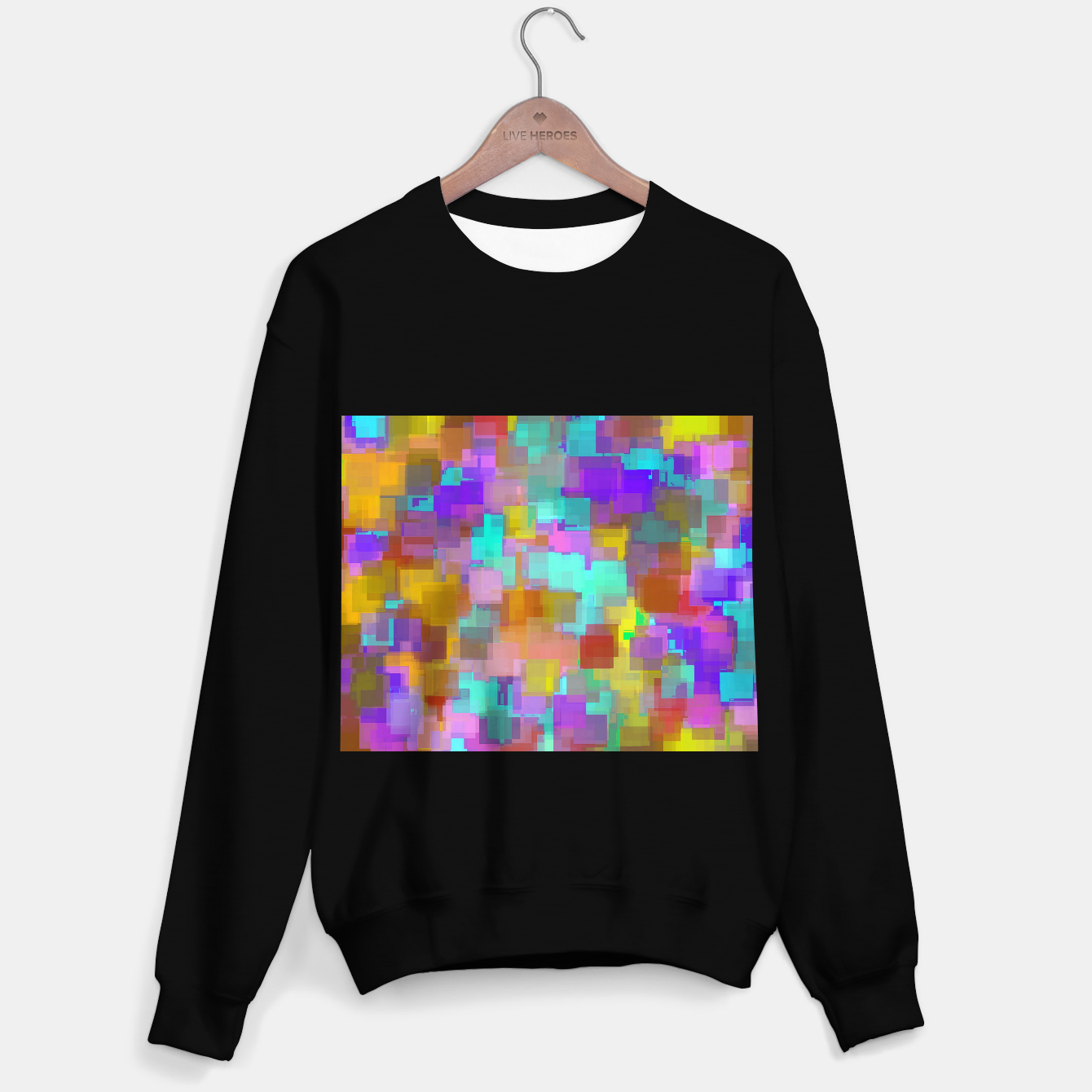 Zdjęcie geometric square pattern abstract background in pink blue purple brown Sweater regular - Live Heroes