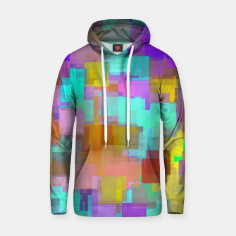 Thumbnail image of geometric square pattern abstract background in pink blue purple brown Hoodie, Live Heroes