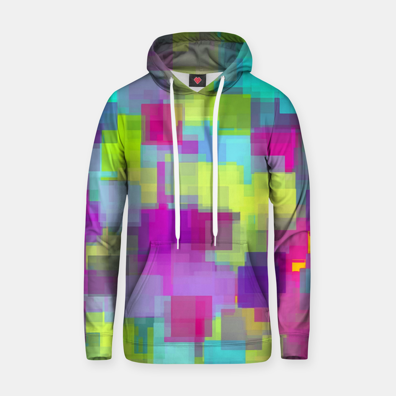 Image of geometric square pattern abstract background in pink yellow blue Hoodie - Live Heroes