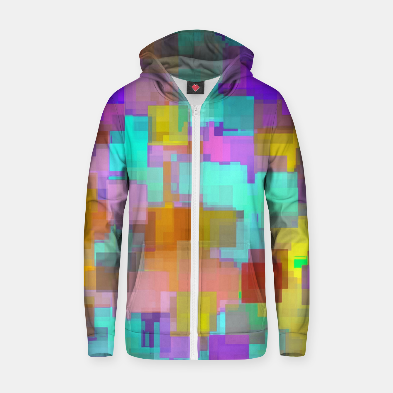 Image of geometric square pattern abstract background in pink blue purple brown Zip up hoodie - Live Heroes