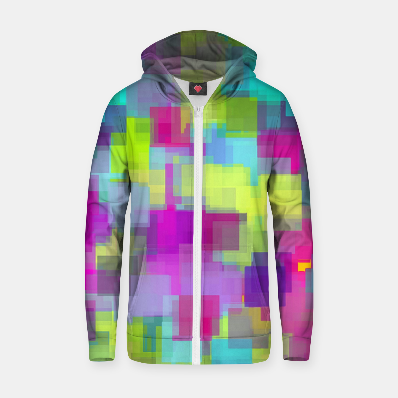 Image of geometric square pattern abstract background in pink yellow blue Zip up hoodie - Live Heroes