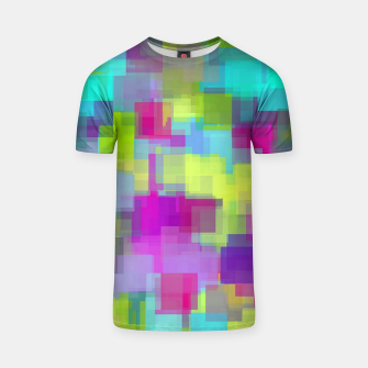 geometric square pattern abstract background in pink yellow blue T-shirt thumbnail image