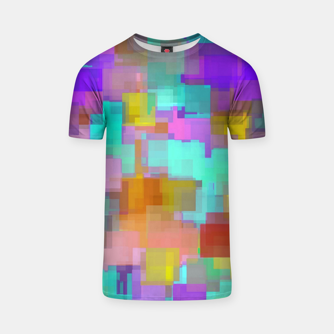 Image of geometric square pattern abstract background in pink blue purple brown T-shirt - Live Heroes