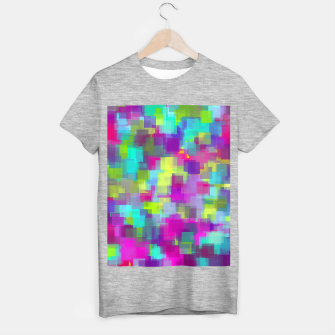 geometric square pattern abstract background in pink yellow blue T-shirt regular thumbnail image