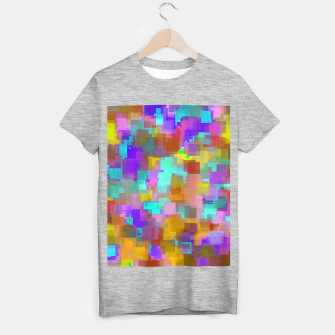 Thumbnail image of geometric square pattern abstract background in pink blue purple brown T-shirt regular, Live Heroes
