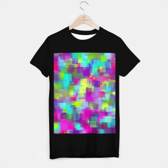 Thumbnail image of geometric square pattern abstract background in pink yellow blue T-shirt regular, Live Heroes