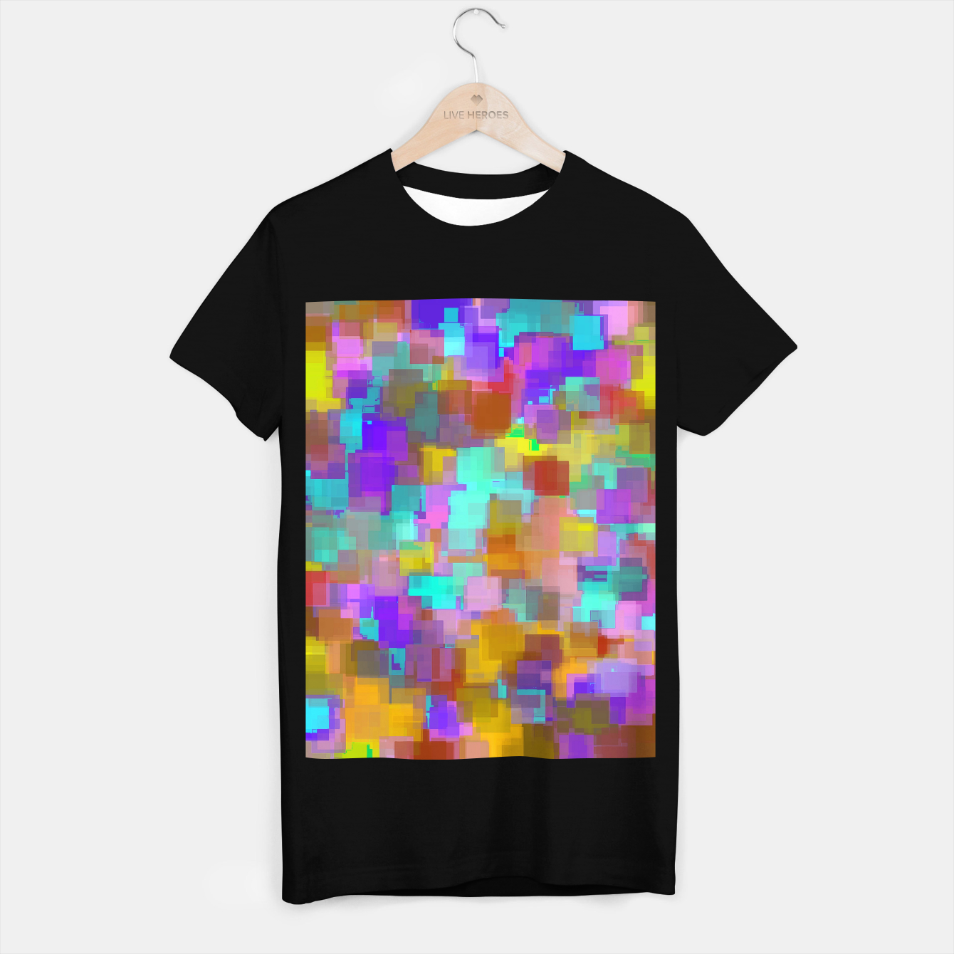 Image of geometric square pattern abstract background in pink blue purple brown T-shirt regular - Live Heroes
