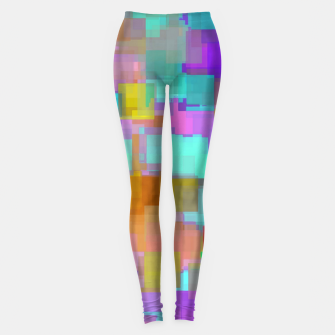 Thumbnail image of geometric square pattern abstract background in pink blue purple brown Leggings, Live Heroes
