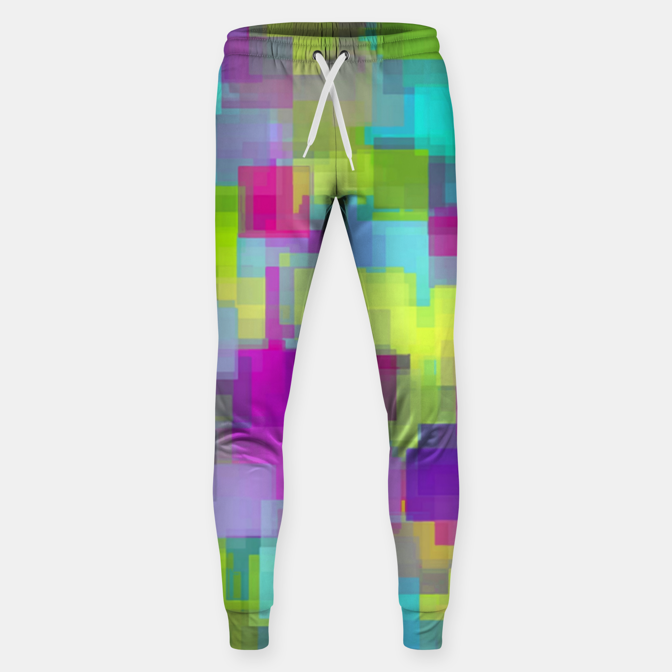 Image of geometric square pattern abstract background in pink yellow blue Sweatpants - Live Heroes