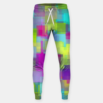 Thumbnail image of geometric square pattern abstract background in pink yellow blue Sweatpants, Live Heroes