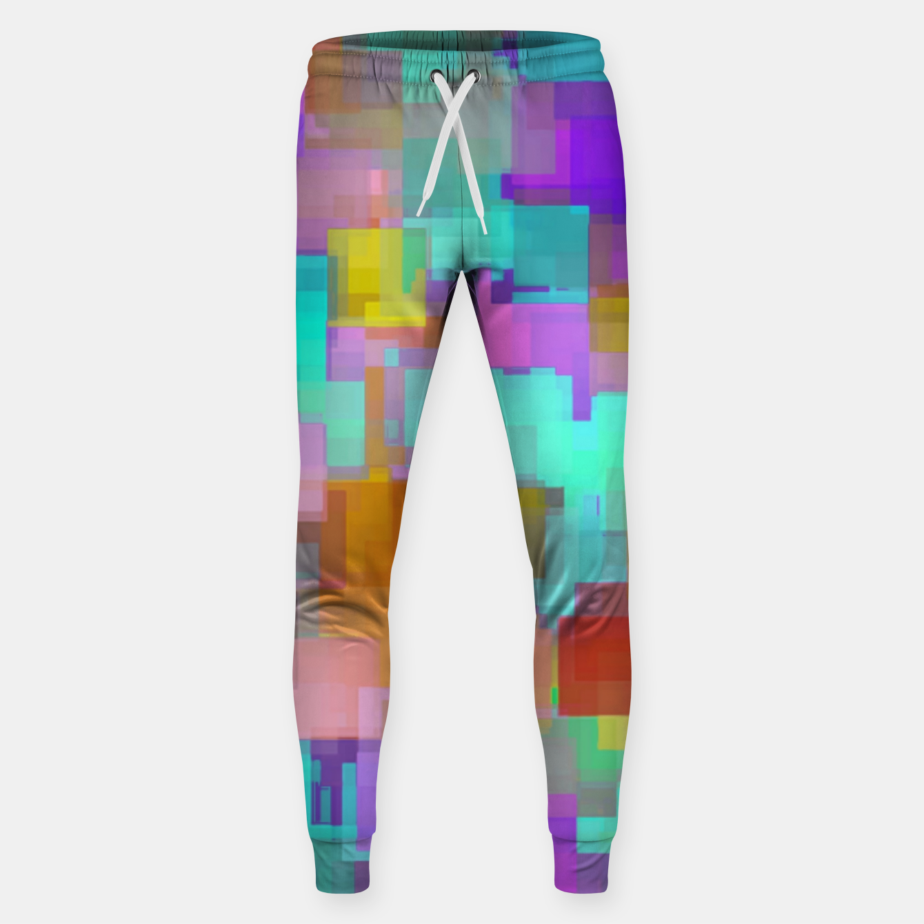 Image of geometric square pattern abstract background in pink blue purple brown Sweatpants - Live Heroes