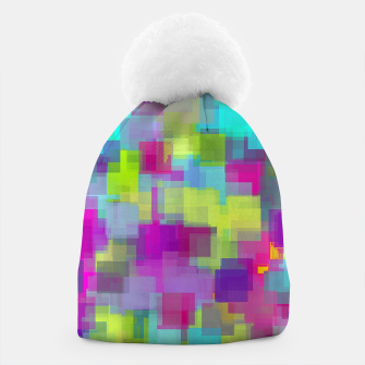 geometric square pattern abstract background in pink yellow blue Beanie thumbnail image