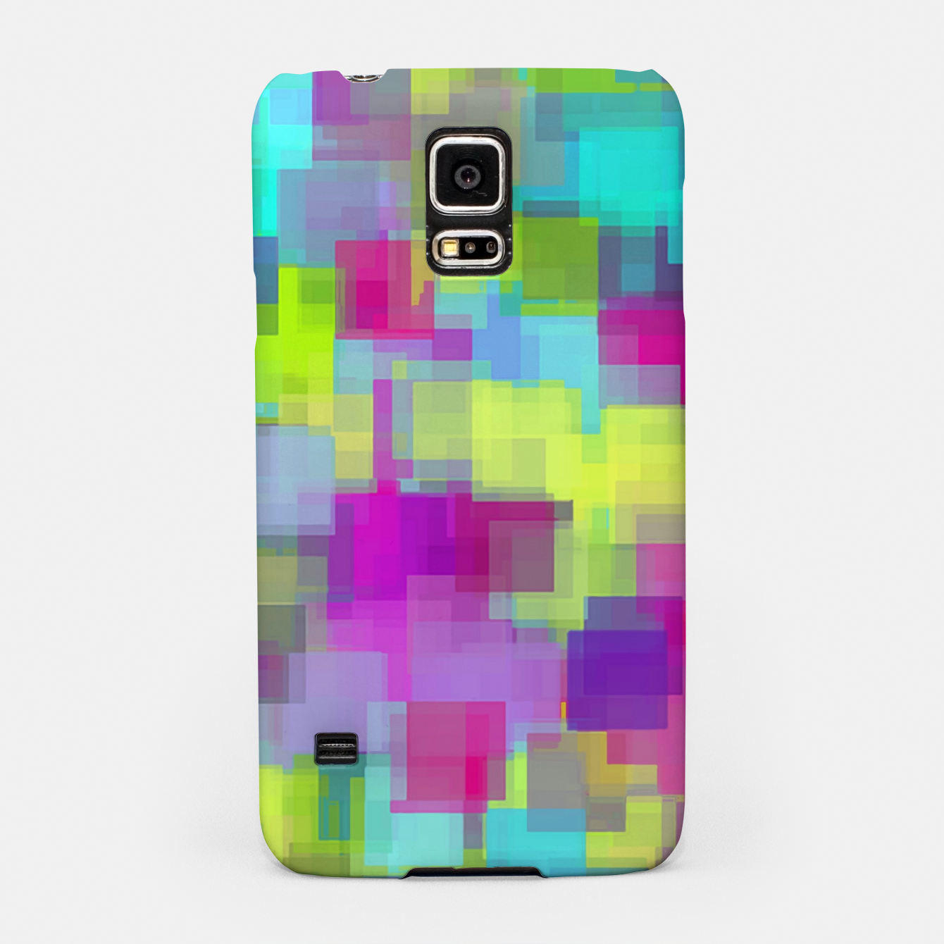 Image of geometric square pattern abstract background in pink yellow blue Samsung Case - Live Heroes