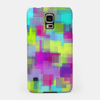geometric square pattern abstract background in pink yellow blue Samsung Case thumbnail image