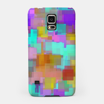 geometric square pattern abstract background in pink blue purple brown Samsung Case thumbnail image