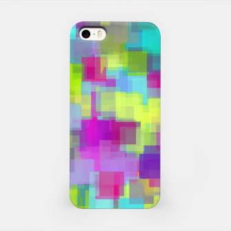 geometric square pattern abstract background in pink yellow blue iPhone Case thumbnail image