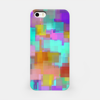 geometric square pattern abstract background in pink blue purple brown iPhone Case thumbnail image