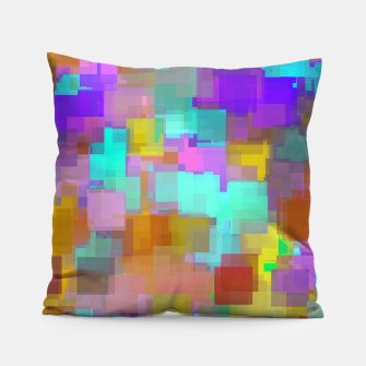 geometric square pattern abstract background in pink blue purple brown Pillow thumbnail image