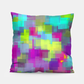Thumbnail image of geometric square pattern abstract background in pink yellow blue Pillow, Live Heroes