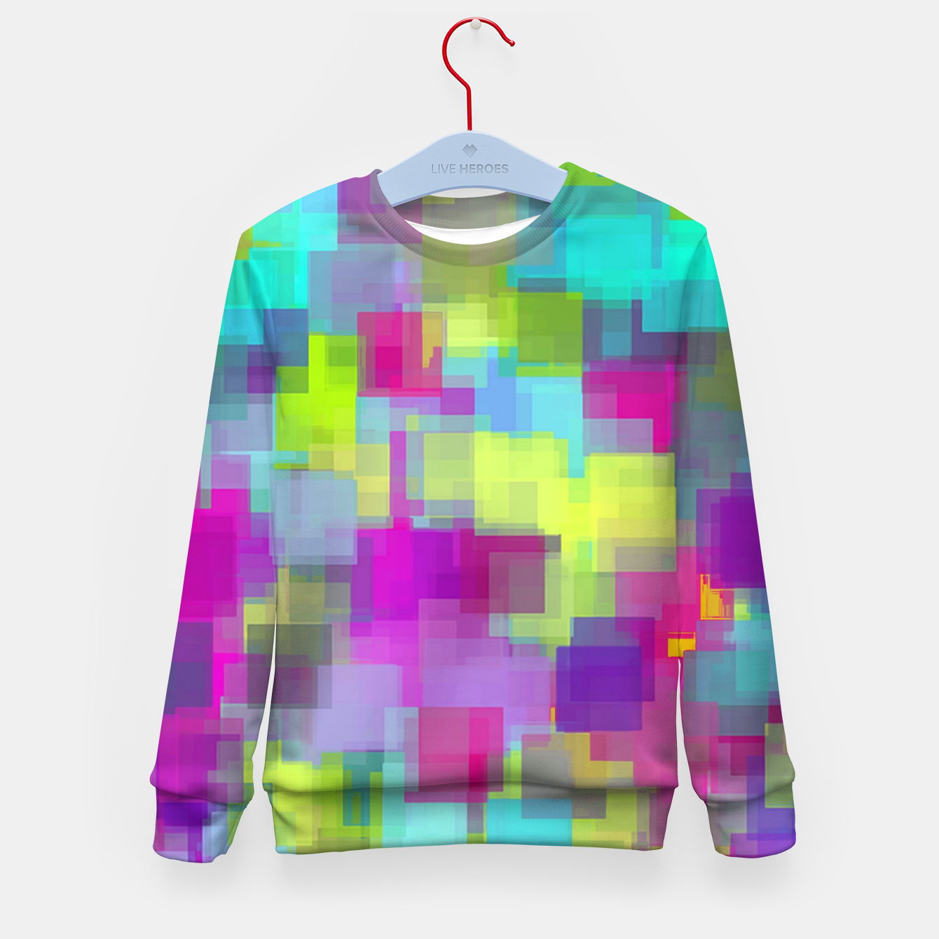 Image of geometric square pattern abstract background in pink yellow blue Kid's sweater - Live Heroes