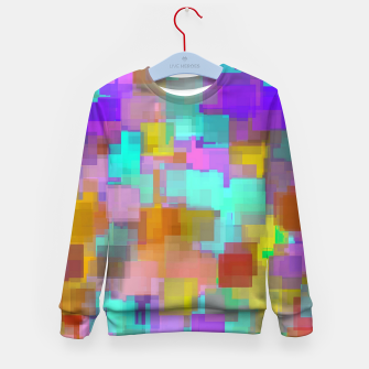 Thumbnail image of geometric square pattern abstract background in pink blue purple brown Kid's sweater, Live Heroes