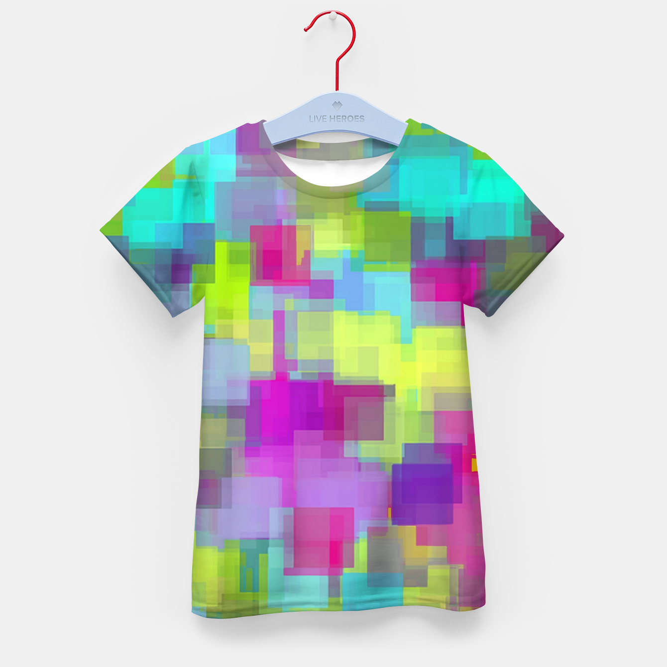 Image of geometric square pattern abstract background in pink yellow blue Kid's t-shirt - Live Heroes