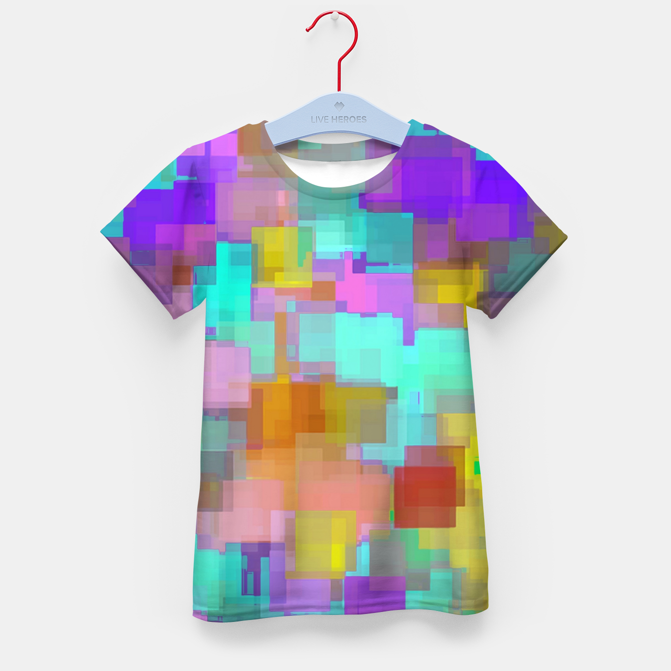 Image of geometric square pattern abstract background in pink blue purple brown Kid's t-shirt - Live Heroes
