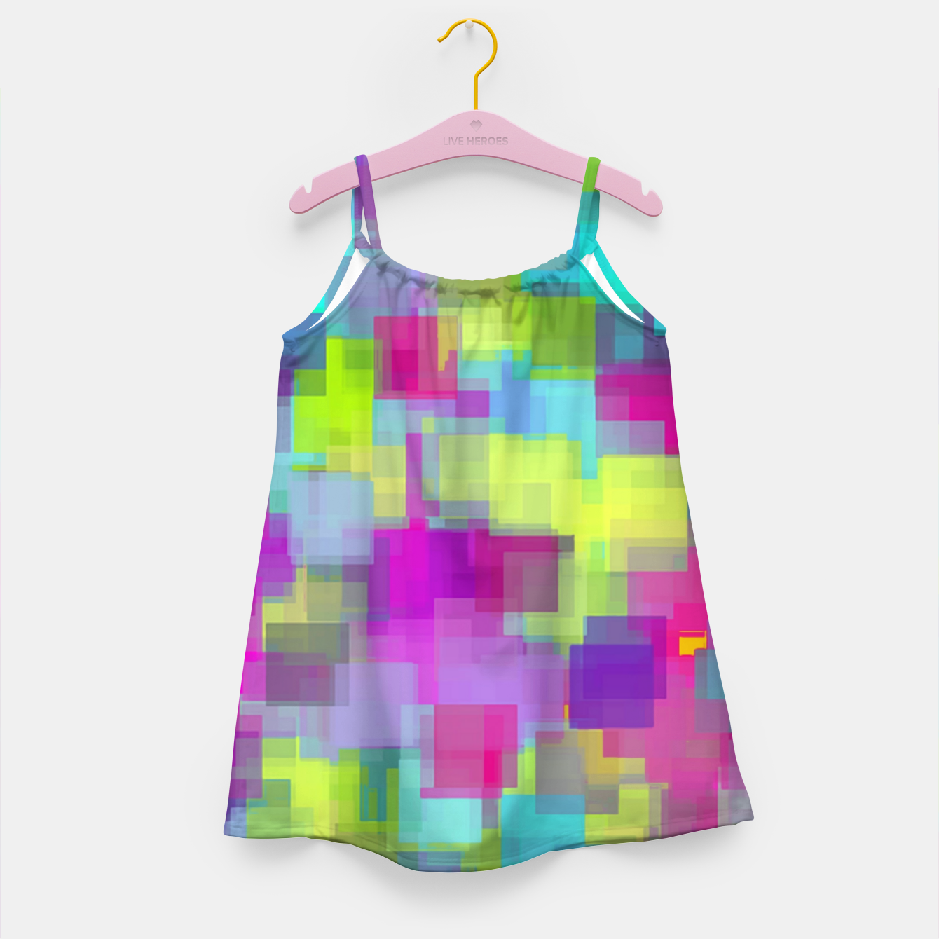 Image of geometric square pattern abstract background in pink yellow blue Girl's dress - Live Heroes