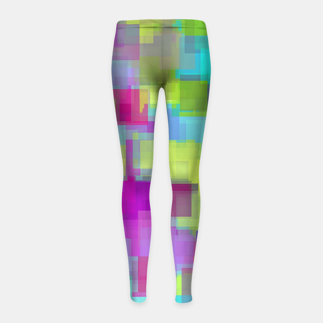 Image of geometric square pattern abstract background in pink yellow blue Girl's leggings - Live Heroes