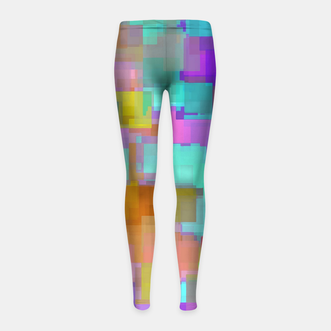 Image of geometric square pattern abstract background in pink blue purple brown Girl's leggings - Live Heroes