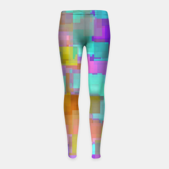 geometric square pattern abstract background in pink blue purple brown Girl's leggings thumbnail image
