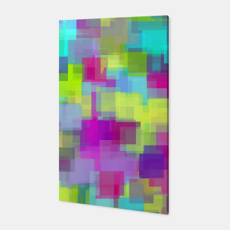 geometric square pattern abstract background in pink yellow blue Canvas thumbnail image