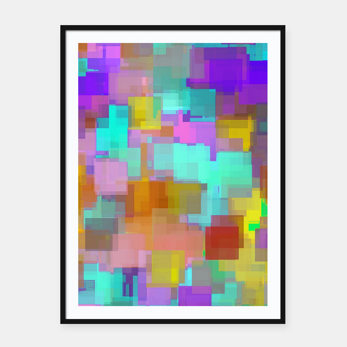 Image of geometric square pattern abstract background in pink blue purple brown Framed poster - Live Heroes
