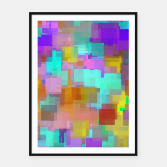 Thumbnail image of geometric square pattern abstract background in pink blue purple brown Framed poster, Live Heroes
