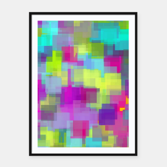 Thumbnail image of geometric square pattern abstract background in pink yellow blue Framed poster, Live Heroes