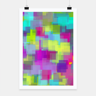geometric square pattern abstract background in pink yellow blue Poster thumbnail image