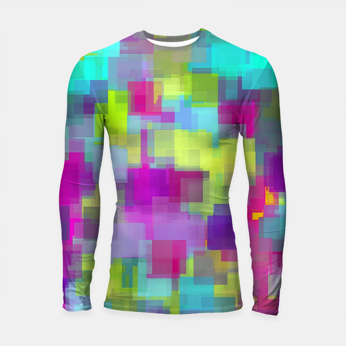 Image of geometric square pattern abstract background in pink yellow blue Longsleeve rashguard  - Live Heroes