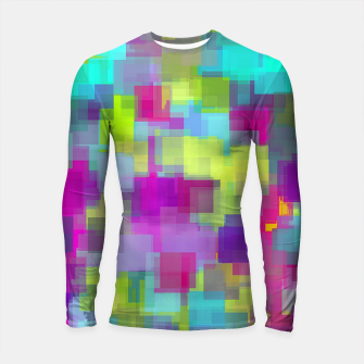 Thumbnail image of geometric square pattern abstract background in pink yellow blue Longsleeve rashguard , Live Heroes